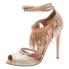 Giambattista Valli Beige Satin/Leather Trim Fringe Ankle Strap Sandals Size 40.5