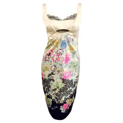 Roberto Cavalli Ivory Silk Exotic Floral Print Sleeveless Sheath With Black Lace