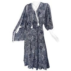 Diane Fres Vintage Navy Blue + White Paisley Bandanna Print Boho Sash Dress