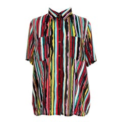 1980s Kenzo in Colored Striped Short Sleeve Shirt
