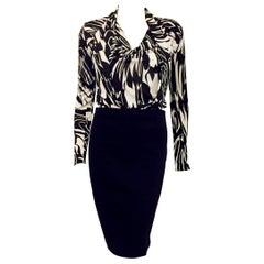 Elegant Emilio Pucci Black & White Long Sleeve Dress with Pencil Skirt