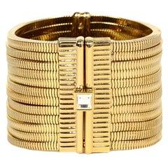 Lanvin Goldtone White Crystal-Embellished Multistrand Snake-Chain Bracelet