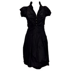 Crisp Chanel Black Silk Short Sleeve Dress Ruched Front with Four Chanel Buttons