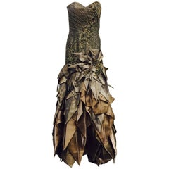 Stephen Yearick Beaded Strapless Evening Gown With Iridescent Folded Skirt