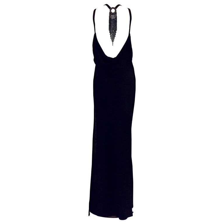 St. John Evening Black Backless Halter Dress w. Black Multifaceted Beads For Sale