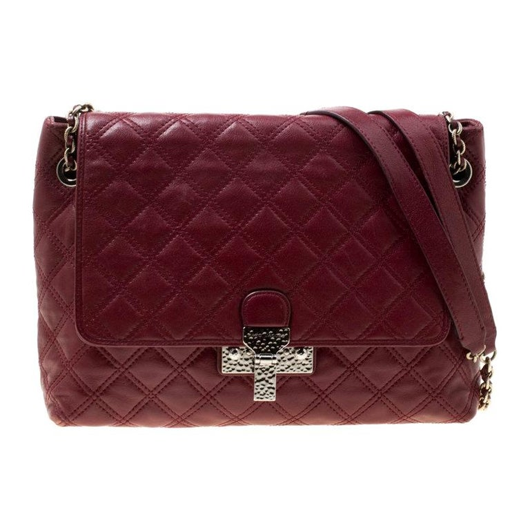 08a5f8cf65 Marc Jacobs Maroon Quilted Leather Baroque Shoulder Bag For Sale at ...
