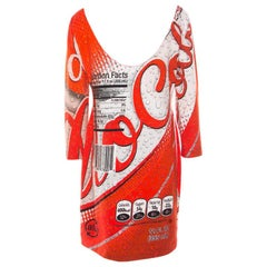 Moschino Couture Red Soda Can Printed Cotton Shift Dress L