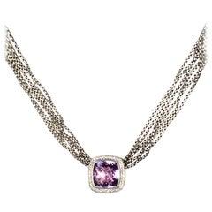 David Yurman Sterling Multi-strand Amethyst & Diamond Albion Necklace rt $2500
