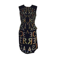 Gianni Versace Bejeweled Logo Print Short Sleeve Sheath
