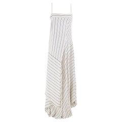 Chloe Striped Asymmetric-Hem Maxi Dress US 6