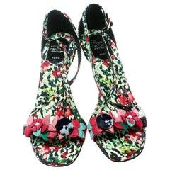 Roger Vivier Multicolor Floral Printed Canvas Cross Strap Sandals Size 38.5