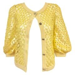 2008 Chanel Lemon Open Lattice Woven Cashmere Cardigan / Sequins Allover 38