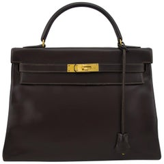 1974 Hermes 32cm Kelly Bag in Dark Brown Box Leather
