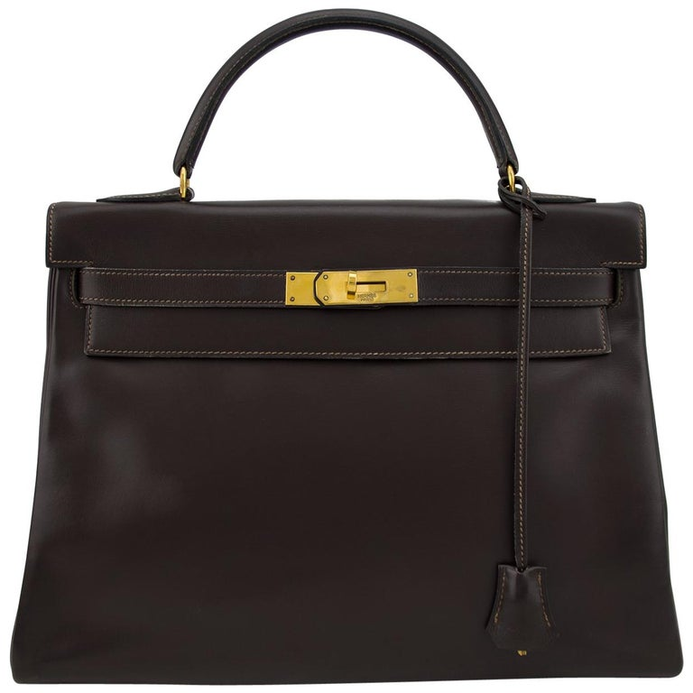 1974 Hermes 32cm Kelly Bag in Dark Brown Box Leather For Sale