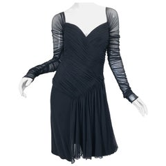 Vintage Vicky Tiel Couture Black Mesh Sweetheart Flirty Cocktail Dress LBD