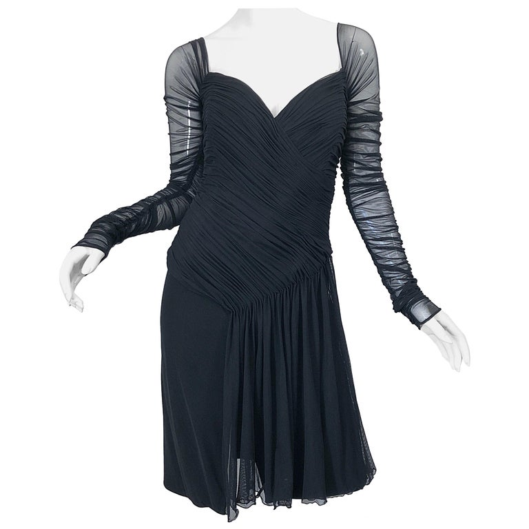 Vintage Vicky Tiel Couture Black Mesh Sweetheart Flirty Cocktail Dress LBD For Sale