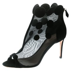 Nicholas Kirkwood Black Mesh/Suede Peep Toe Ankle Booties Size 41