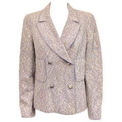 Chanel Spring Cotton/Wool Tweed Blend Pale Lavender Double Breasted Jacket