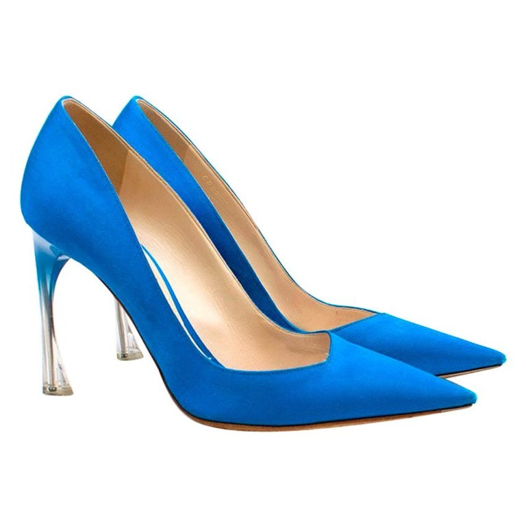 520b96b068 Christian Dior Songe Perspex-Heel Blue Pumps US 8 For Sale at 1stdibs