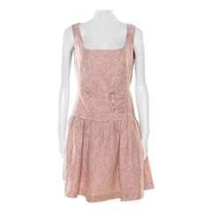 Red Valentino Pink and White Textured Drop Waist Sleeveless Dress M