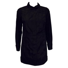 Classy Chanel Front Pleated Blouse with Round Collar in Black Silk