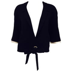 Chanel Black Wool Crepe Cropped Jacket With Removable White Wool Cuffs
