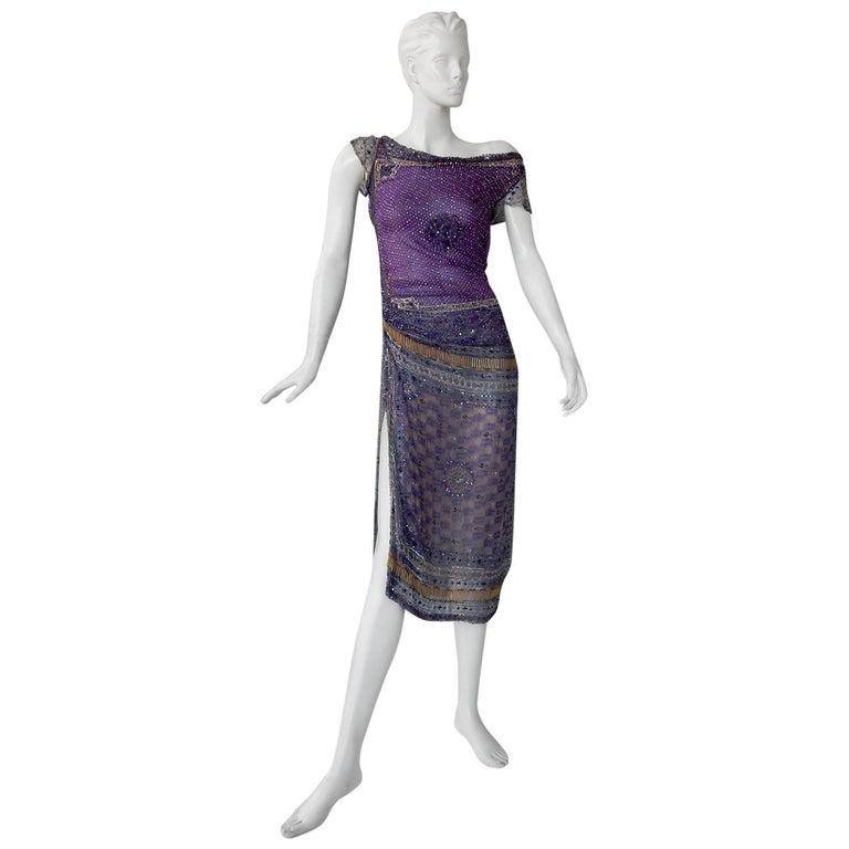 Valentino Hand Beaded Sari Silk Asymmetrical Evening Dress For Sale