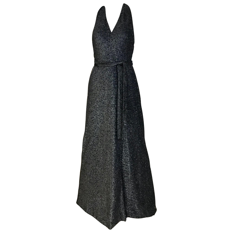 1970s Geoffrey Beene Navy Blue Metallic Halter Dress