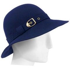 Chic 1970s Halston Navy Blue Wool Gold Buckle Vintage 70s Hat