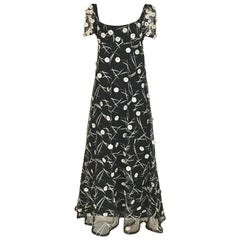 1960s Hardy Amies Black Gown with White Embellishment