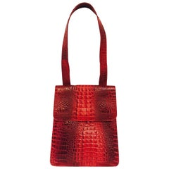 Mario Hernandez Ravishing Red Crocodile Structured Shoulder Flap Bag