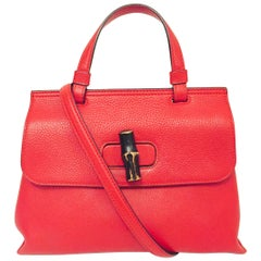 Guccissimo Gucci Red Pebbled Calfskin Small Bamboo 2 Way Handle & Shoulder Strap