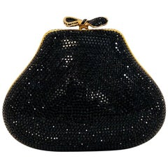 Jeweled Judith Leiber Black Swarovski Crystal Minaudiere with Gold Tone Hardware