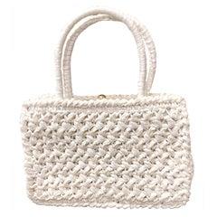 1980s Adoria Italian White Vintage Raffia Straw 80s Satchel Purse Hand Bag
