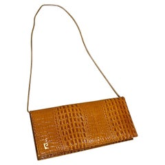 1970s Pierre Cardin Alligator Leather Embossed Convertible Vintage Clutch Bag