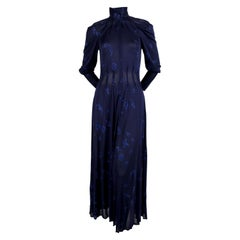 1970's JEAN MUIR blue jersey dress with stars and moons