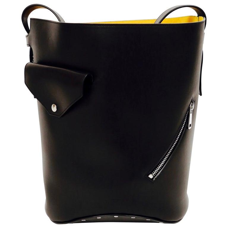 new CELINE Phoebe Philo black leather biker bag with silver grommets  For Sale