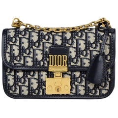 Christian Dior 2018 Navy Blue Canvas Monogram Oblique DiorAddict Flap Bag