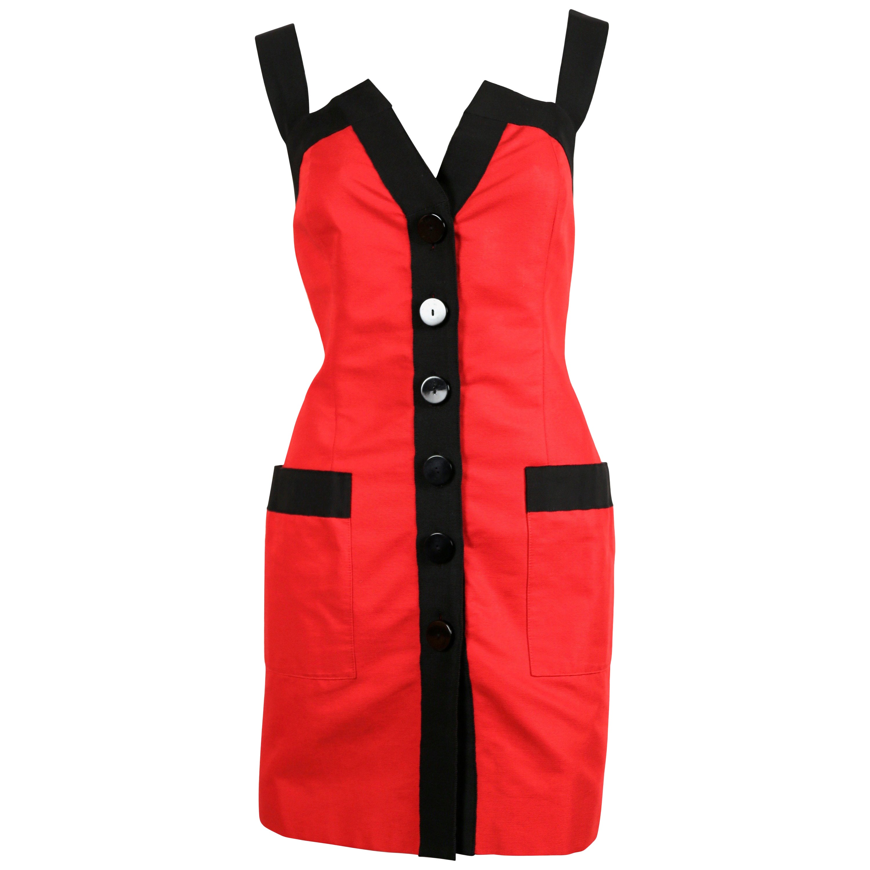Yves Saint Laurent red dress with black trim, 1990s