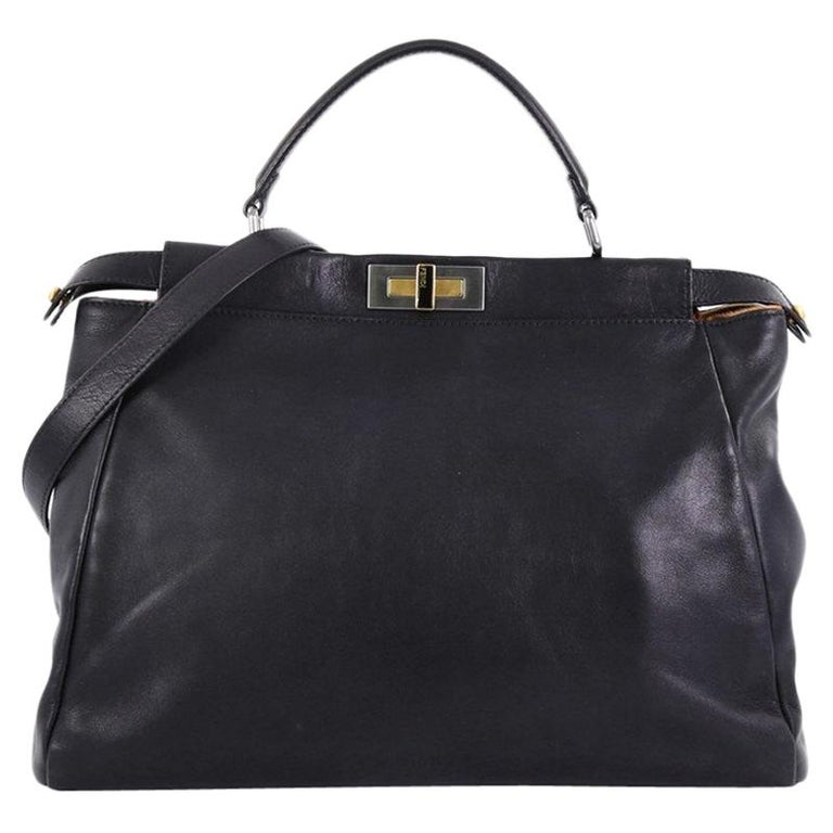 c63e98a5f19739 Fendi Peekaboo Handbag Leather with Calf Hair Interior Large For Sale