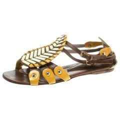 Etro Multicolor Leather Paisley Detail Flat Sandals Size 38.5