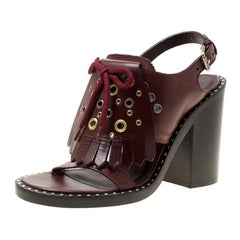 Burberry Burgundy Leather Beverley Eyelet Fringe Detail Block Heel Sandals Size