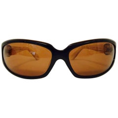 Kieselstein-Cord Wraparound Latte Sunglasses With Amber Tint
