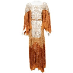 1970's Couture Copper Knit & Beige Lace Belted Bias-Cut Fringe Bohemian Gown