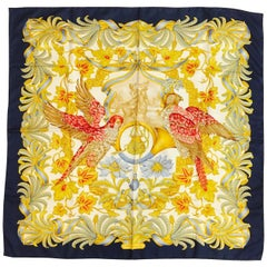 Salvatore Ferragamo 19th Century Falconer Navy Silk Twill Scarf