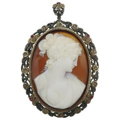 Early 1900's Cameo 14K Gold & Ruby Pendant Brooch