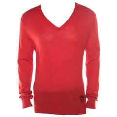 Alexander McQueen Red Cashmere Jacquard Skull Detail V Neck Sweater L