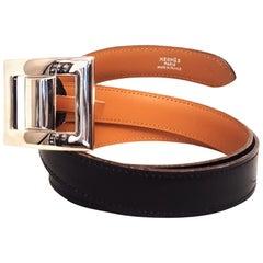 Hermes Vintage Black Box Leather Belt Adjustable Buckle Without Post Silvertone