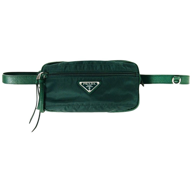 6ea473eeba3a Prada Green Nylon Small Fanny Pack/ Belt Bag 30