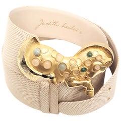 Judith Leiber 1980's Vintage Snakeskin Belt With Jeweled Trojan Horse Buckle